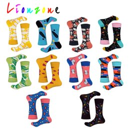 lovers gift flower NZ - LIONZONE 2019 Happy Socks Men Lovers Colorful Flower Leaf Robot Rabbit Style Combed Cotton Socks Hip-Hop Funny Gift