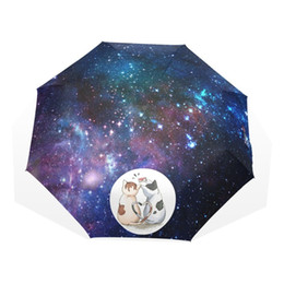 Free Kids Craft UK - Romantic Lover Cat Rain Umbrella Foldable Fantasy Galaxy Animal Automatic Kid Umbrella for Women Parapluie Free Shipping
