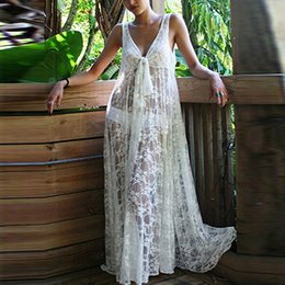 lace see through maxi dress 2019 - Women Sexy V-neck Sleeveless Summer Beach Lace Cover Up See Through Maxi Dress cheap lace see through maxi dress