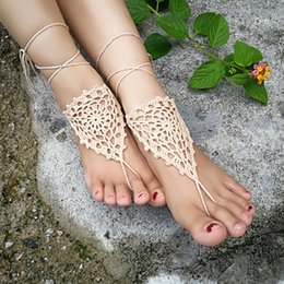 $enCountryForm.capitalKeyWord Australia - Crochet white barefoot sandals Nude shoes Foot jewelry Beach wear Yoga shoes Bridal anklet bridal beach accessories white lace sandals S2002