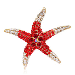 China 4 Colors Rhinestone Sea Star Pin Brooch Designer Brooches Badge Metal Enamel Pin Broche Women Luxury Jewelry Party Decoration supplier wholesale decoration sea suppliers