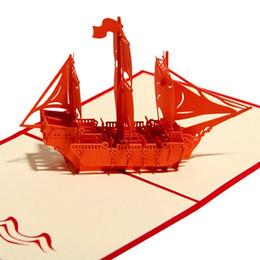 Venta al por mayor- Nueva tarjeta de felicitación de la nave roja 3D Pop-Up tarjetas Cumpleaños Regalos de boda Postal de papel Recuerdos Elegantes invitaciones de boda