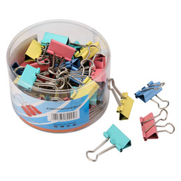 $enCountryForm.capitalKeyWord NZ - Wholesale A Box Metal Binder Clip 19mm   32 mm   41mm   51mm File Ticket Paper Clip Holder Organizer Colorful