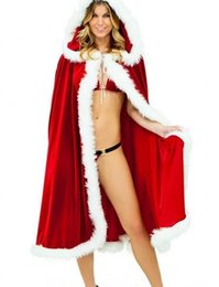 Santa Women Costume NZ - Red Christmas Cloak Cape Cosplay Costume For Adult Women Hooded Xmas Santa Claus Stage Show Party Clothing hot