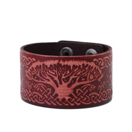 China Punk Rock Infinite Knot Life of Tree Sigil Wicca Amulet Wristband Cuff Men's Leather Bracelets Bangles cheap punk rock wristband bracelets suppliers