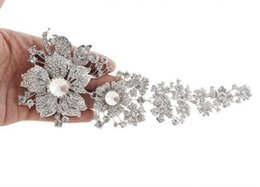 Vintage rhinestone pins online shopping - 7 quot Extra Large Vintage Silver Plated Clear Rhinestone Bridal Brooches Women Party Pins