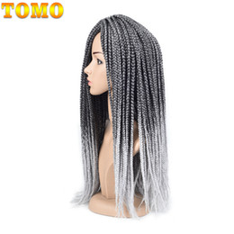 $enCountryForm.capitalKeyWord Canada - TOMO Box Braid Pure Ombre Grey Crochet Braiding Hair Extensions Kanekalon Synthetic Braided Hair For Black Woman 14 18 22inch 22strands pack