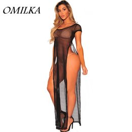 Wholesale side out maxi dress for sale – plus size OMILKA Mesh Side Split Dress Summer Women Short Sleeve O Neck Hollow Out See Through Night Club Beach Long Maxi Dress