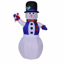 Snowmen Costume UK - 1.8m Inflatable Waving Hand Snowman for Christmas Cute Inflatable Xmas Decoration Super Market Entertainment Holiday New Year mascot