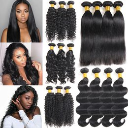Discount unprocessed human hair piece - 8a Brazillian Body Wave Straight Human Hair Bundles Unprocessed peruvian indian Human Hair Brazilian Deep Water Kinky Ha