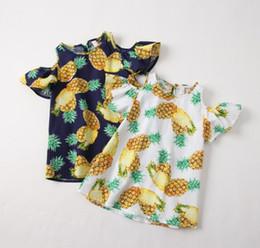 Blue striped children dress online shopping - Girl Dresses Girls Pineapple Dress Summer Children Sleeve off Clothing Cololrs for Y p