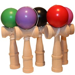 free kendama games UK - Big size 18*6cm Kendama Ball Japanese Traditional Wood Game Toy Education Gift Boy Kids Children Toys Mix Color Free FEDEX DHL Kendama