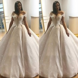 Luxurious musLim wedding gowns online shopping - Luxurious Saudi Arabic Ball Gown Wedding Dresses Beaded Court Train Sleeveless Sequin Bridal Gowns Wedding Gowns robe de mariee