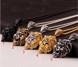 $enCountryForm.capitalKeyWord Australia - 5 styles New Vintage Big Classical Lion Head Pendants silver Gold Plated Choker Necklace Floating Charms Jewelry Wholesale hip hop