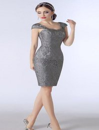 7acb441e2e8 Silver Grey Lace Mother Of The Bride Dresses Knee Length Sheath With Capped  Short Sleeves Custom Made Plus Size Women Evening Dresses DH328
