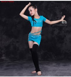 Practice Suits NZ - Girls Children Belly Dance Cut out Top and Skirt Suit Competition Practice Costume Indian Oriental Belly Dancewear Outfits Free Shipping