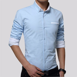 Men sliM dress business shirt online shopping - Fashion Men Shirts Business Long Sleeve Turn down Collar Cotton Male Solid Shirt Slim Fit Popular Designs