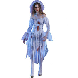 Easter Cosplay UK - New Adult Women Halloween Horror Ghost Bride Cosplay Costume Fancy Vampire Bloody Bride Easter Festival Masquerade Party Outfit