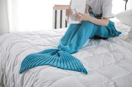 Kids Wrap Towel NZ - New 10 Colors 70*140cm Mermaid Blankets Mermaid Tail Knitted Blanket Kids Handmade Crochet Blanket Throw Bed Wrap Sleeping Bag LYN54