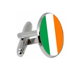 Chinese  Wedding Cufflinks Irish national flag cuff buttons Man shirt cuff buttons Silver Quality Fashion Wen Jewelry Accessories manufacturers