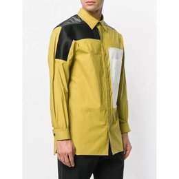 Wholesale Rick Owens Fashion Style Contrast Color long Sleeve Yellow Cotton Shirt Casual Relax
