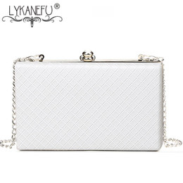 wholesale small evening bags NZ - LYKANEFU Evening Bag Box Clutch Purse Women Bag with Chain Day Clutches Ladies Wedding Hand Hasp Lock Shoulder Small Big