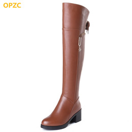 genuine leather over knee boots Australia - OPZC Female over the knee boots 2018 autumn new genuine leather motorcycle boots, high-heeled long tube ladies winter boots 42#