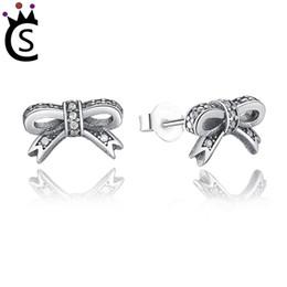 Beautiful luxury girls online shopping - Authentic sterling silver zircon Beautiful earrings Butterfly knot silvery Fashion earrings Young girls Luxury earrings