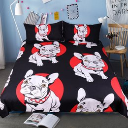 $enCountryForm.capitalKeyWord Canada - Bulldog Bedding Set Black And Red Quilt Cover With Pillowcases Cartoon Pug Dog Home Textiles For Kids 3 -Piece