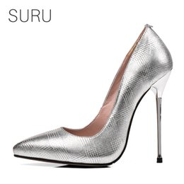 6b4caaa0300 wholesale Women Silver Stilettos Office Lady Pumps 5 Inches Metal High  Heels Sexy Pointed Toe Party Wedding Heels plus size EUR 30-45
