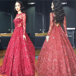 Prom Dresses Modest Neckline NZ - Shinning Red Evening pageant Dresses 2018 modest Sheer Crew Neckline Long Sleeve plus size Ball Gown Wine Party Prom Gowns Arabic
