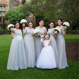 1ce86f153e7 2019 Pregnant Grey long Bridesmaid Dresses A Line Lace Beaded Top Empire  Waist Long Arabic Plus Size Maid Of Honor Dresses