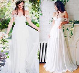 $enCountryForm.capitalKeyWord Australia - Beach Wedding Chiffon A line Long Bridal Gowns With Pleats Floor Length Off-Shoulder Wedding Dresses Cheap Custom Made