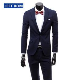 pure purple wedding dresses 2019 - ( Jacket + Pants ) 2018 New Men's Fashion Boutique Pure Color High-grade Brand Wedding Dress Suits Blazer Slim Busi