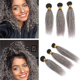 gray curly weave 2019 - Mongolian Kinky Curly Ombre Grey Human Hair 3 Bundles Deals Dark Roots Gray Ombre Curly Virgin Hair Weave Wefts Extensio