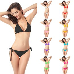 Cheap bikinis free shipping online shopping - Summer Beach Two Pieces Bikini Sexy Polyester Halter Neck Tie Women Bikini Cheap Underwear Sets With