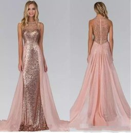 $enCountryForm.capitalKeyWord Australia - Chic Rose Gold Sequined Mermaid Prom Party Dresses 2018 With Detachable Skirt Beaded Evening Gowns Saudi Celebrity Party Dress