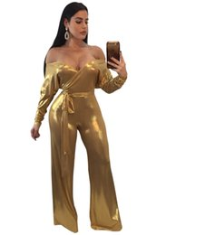 $enCountryForm.capitalKeyWord NZ - NEW Woman Jumpsuit Sexy Off Shoulder Bronzing Long Rompers Women Body Dentelle Jumpsuit Long Sleeve Wide Leg Bandage Bow Club
