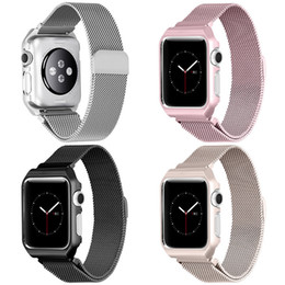Wholesale milanese loop frame case for apple watch Series band iwatch mm mm stainless steel metal strap Protect Magnetic