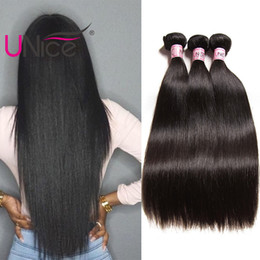 cheap human hair extensions 24 inch Canada - UNice Hair Virgin Unprocessed Brazilian Straight Bundles Remy 100% Human Hair Extensions Wholesale Cheap Nice Silk Hair Weaves 8-30 inch