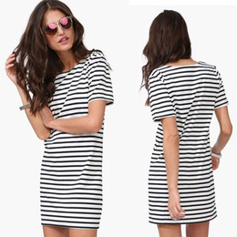 $enCountryForm.capitalKeyWord Canada - Straight dress size S-L black and white striped short-sleeved round neck sleeve simple casual skirt bottoming