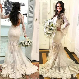 84c695cd33 Gorgeous 2018 Lace V Neck Illusion Long Sleeve Mermaid Wedding Dresses Sexy  Cut Out Back Applique Long Bridal Gowns Custom Made EN12214