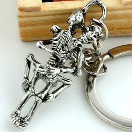 $enCountryForm.capitalKeyWord NZ - Fashion Forever Love Dead to Love Punk Skeleton Key Chain Ring Keychain Keyring Gift Skull Accessories for Women Men Kids