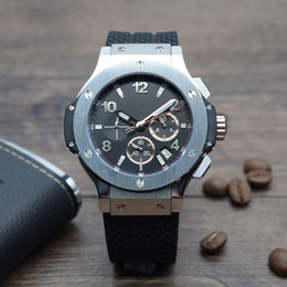Brand Luxury Style Watch Australia - Luxury brand White steel Quartz chronograph movement Sports style Rubber strap Six pointers Multi-function Big dial Men's watch