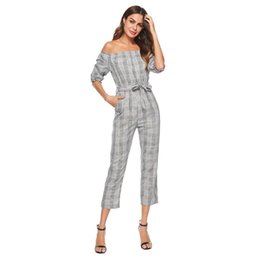 Fashion Party Jumpsuits NZ - New 2018 Fashion Women jumpsuit off shoulder Plaid high waist Playsuit Party Casual Sexy street Bodysuit Ladies overall femme