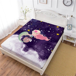 $enCountryForm.capitalKeyWord Australia - Girls Princess Cartoon Bed Sheet Mermaid Flowers Print Fitted Sheet Colorful Ocean Wave Printed Bedclothes Home Textile