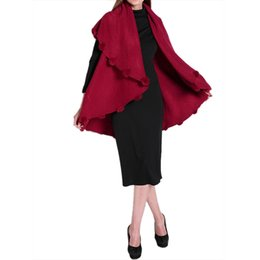 China NEW Womens Loose Knitting Batwing Wool Poncho Jacket Winter Warm Cloak Coat Cardigan Wine Red suppliers
