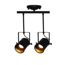 vintage track switch UK - Retro Loft Vintage 2 light LED Track lamp Kung with rail Ceiling Lamp Bar Clothing Personality spotlight 3W E27 led lamp