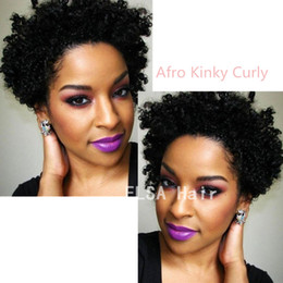 Discount bob cut natural african hair - Wigs for black women Pixie cut short Afro Kinky Curly human hair wigs for black women bob full lace front wigs with baby