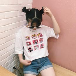 punk cartoon girls 2019 - 2018 Women'S Korean Chic Girls Harajuku Ulzzang Cartoon Printing Loose Soft T-Shirt Women Kawaii Punk Retro Clothes